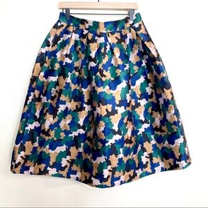 Beulah blue and green camp circle skirt size large